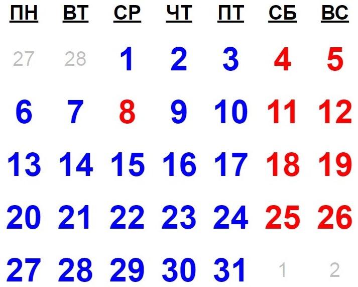 Церковный календарь имен на 2014 по месяцам
